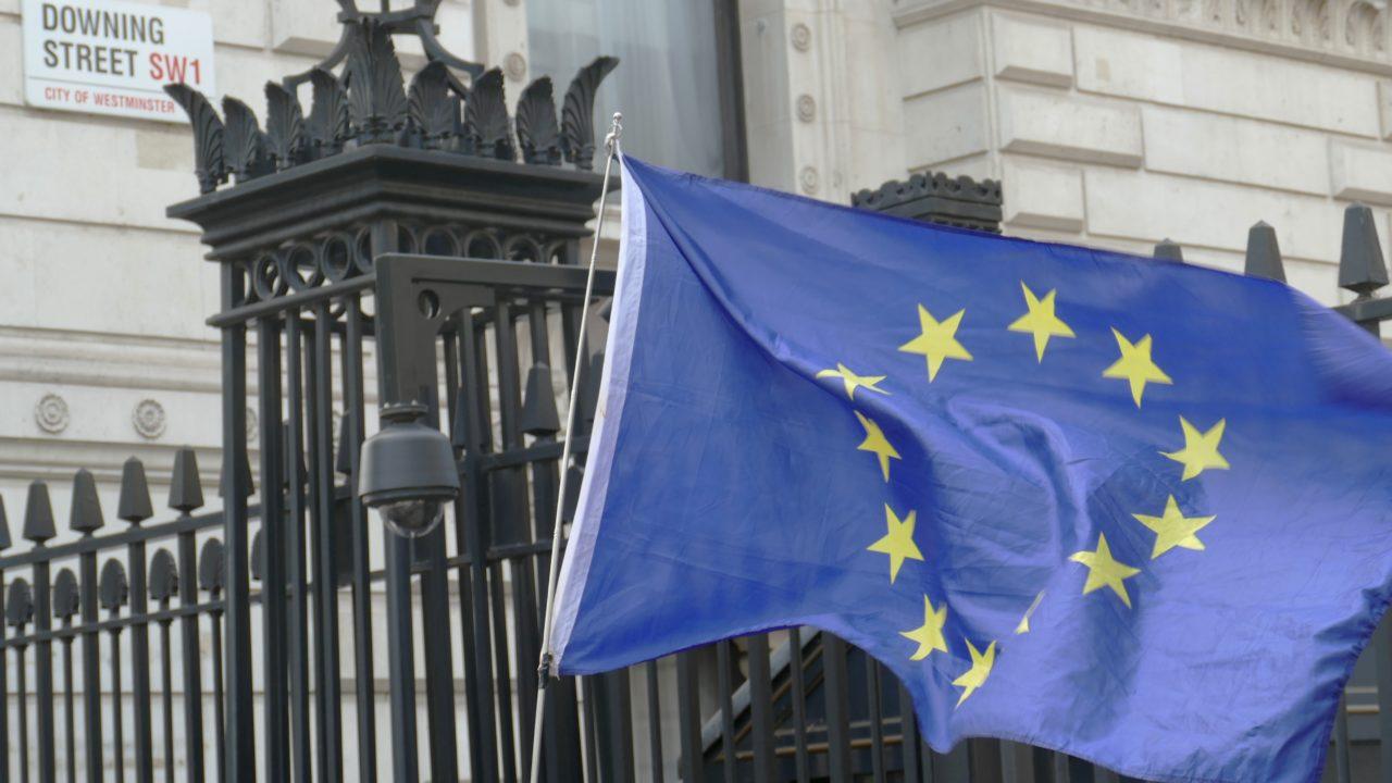 European Flag flying outside Downing Street