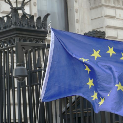 European Flag flying outside Downing Street