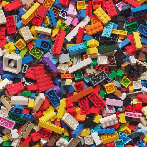 A pile of colourful Lego bricks.
